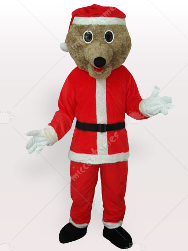 Grey Bear in Santa Outfit Adult Mascot Costume