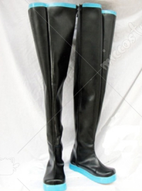 High black Vocaloid Hatsune Miku Cosplay Shoes Boots with light blue soles