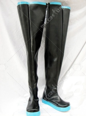 High black Vocaloid Hatsune Miku Cosplay Shoes Boots with light