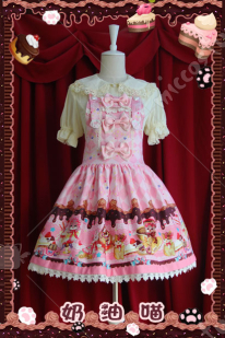 Infanta Lolita Cream Cat Spring Autumn Dress
