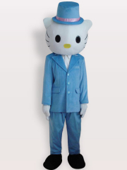 Kitty Blue Plush Adult Mascot Costume