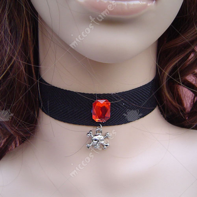 Punk style red bead black lolita necklace with skull pendant