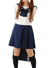 Long Sleeves School Uniform Cosplay Costume