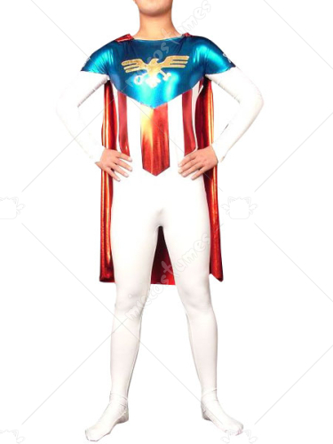 Lycra Shiny Metallic American Super Hero Costume