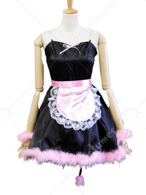 Maid Style Pink And Black Pussy Cat Lolita Cosplay Dress