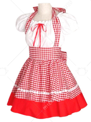 Maid White And Red Gingham Lolita Cosplay Dress