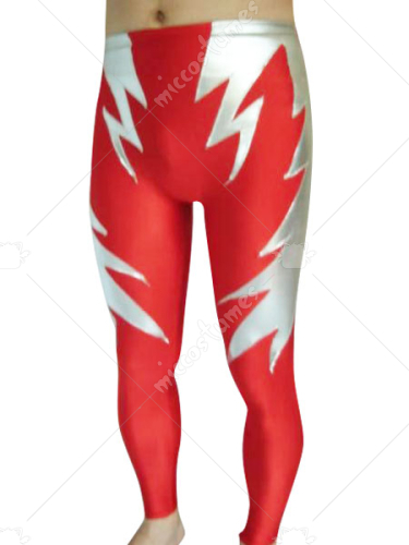 Male Red And Silver Shiny Metallic Pants