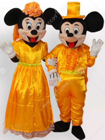 Micky And Minnie Wedding Dress Short Plush Adult Mascot Costume