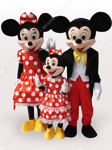 Micky Family Short Plush Adult Mascot Costume
