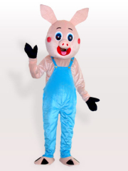 Mr Pig in Bib Overalls Adult Mascot Costume