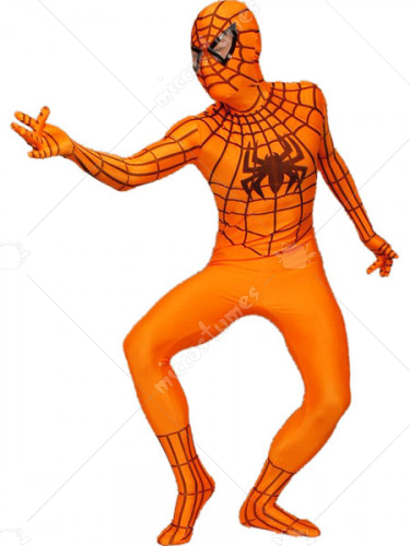 Orange Spandex Lycra Spider Man Zentai Suit