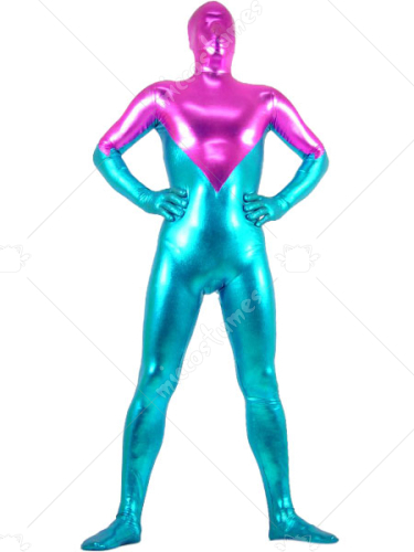 Peach And Blue Shiny Metallic Zentai Suit