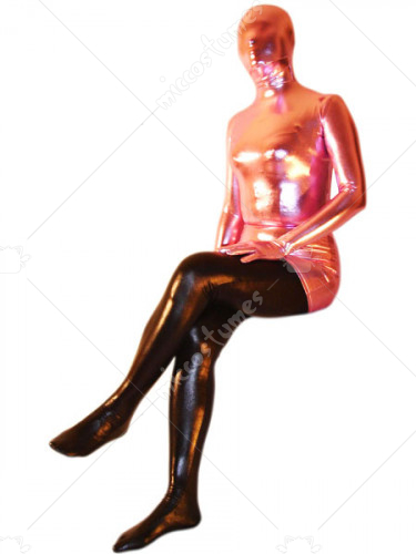 Pink And Black Shiny Metallic Unisex Zentai Suit