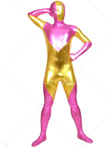 Pink And Gold Shiny Metallic Zentai Suit