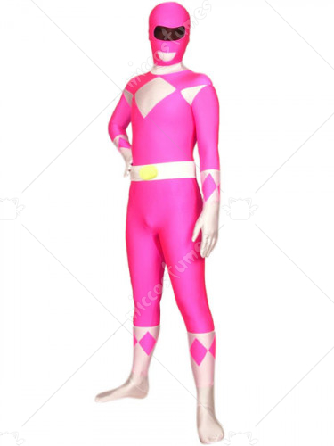 Pink And White Space Warrior Baldios Lycra Spandex Super Hero Ze