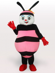 Pink Bee Short Plush Adult Mascot Costume