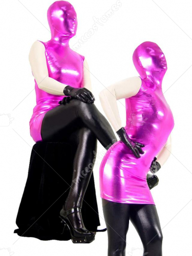 Pink Black Shiny Metallic Zentai Suit with White Arms Black Hand