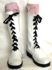 Pink Checkers Black Butler Kuroshitsuji Cosplay Shoes Boots