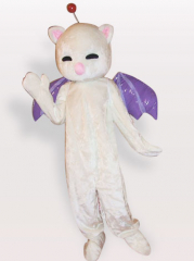 Pink Nose White Cat Short Plush Adult Mascot Costume
