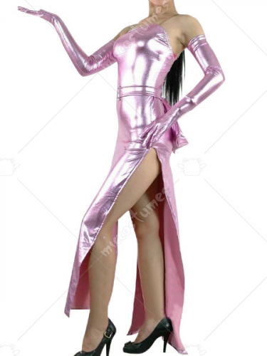 Pink Shiny Metallic Catsuit With Gloves