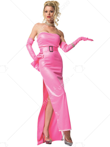 Pink Strapless Shiny Metallic Catsuit