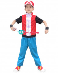 Pokemon Ash Red Kids Cosplay Costume