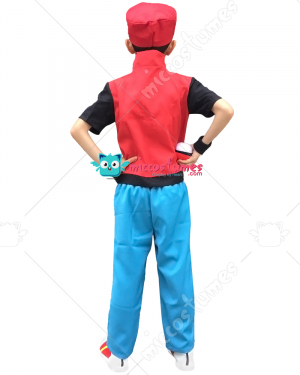 X And Y Ash Ketchum Red Kids Cosplay Costume