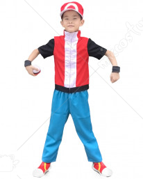 Pokemon X And Y Ash Ketchum Red Kids Cosplay Costume