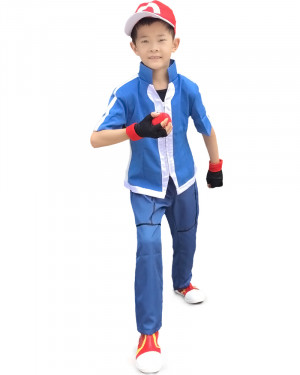 X And Y Ash Ketchum Kids Cosplay Costume