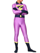 Purple And Blue Lycra Spandex Super Hero Catsuit
