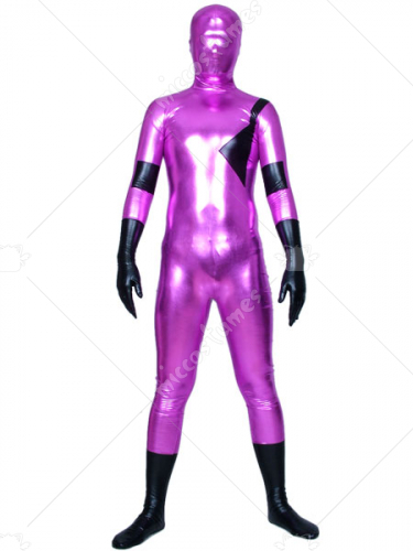 Purple Black Shiny Metallic Zentai Suit