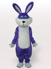Purple Easter Bunny Rabbit Short Plush Adult Mascot Costume
