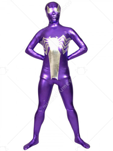 Purple With Silver Dragonfly Shiny Metallic Zentai Suit