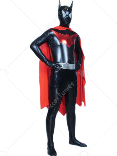 Red And Black Batman Shiny Metallic Super Hero Zentai Suit