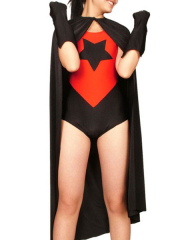 Red And Black Lycra Spandex Super Hero Catsuit