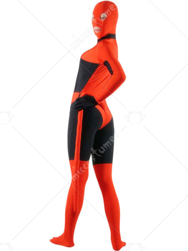 Red And Black Lycra Spandex Zentai Suit