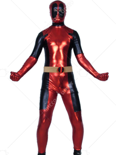 Red And Black Ninja Shiny Metallic Super Hero Zentai Suit