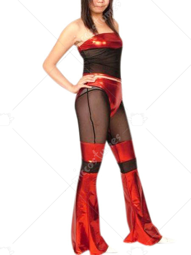 Red And Black Shiny Metallic And Spun Silk Catsuit