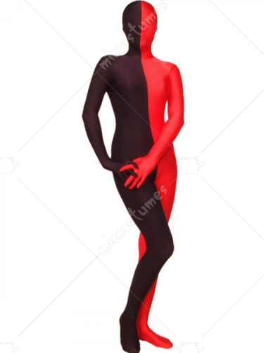 Red And Black Spandex Lycra Zentai Suit