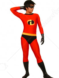 Red And Black The Incredibles Lycra Spandex Super Hero Catsuit
