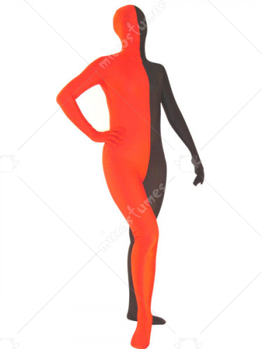 Red and Black Unisex Lycra Zentai Suit