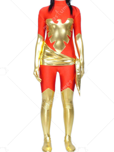 Red And Gold Shiny Metallic Super Hero Catsuit