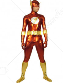 Red And Gold The Flash Shiny Metallic Super Hero Zentai Suit