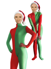 Red and Green Christmas Zentai Suit
