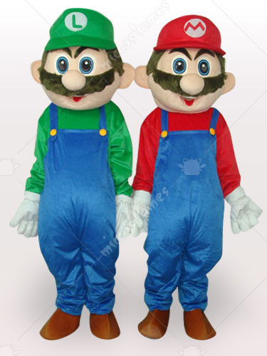 Red And Green Super Mario Bros Short Plush Adult Mascot Costume