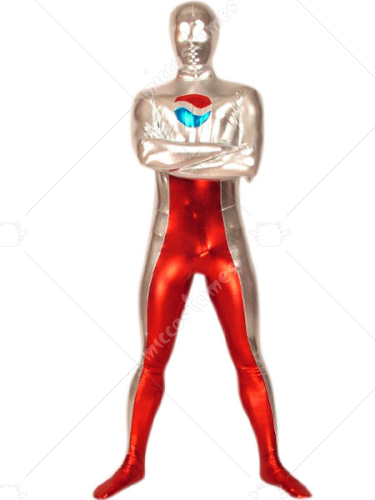 Red And Silver Shiny Metallic Zentai Suit
