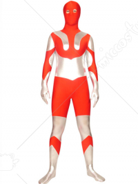 Red And Silver Ultraman Lycra Spandex Super Hero Zentai Suit
