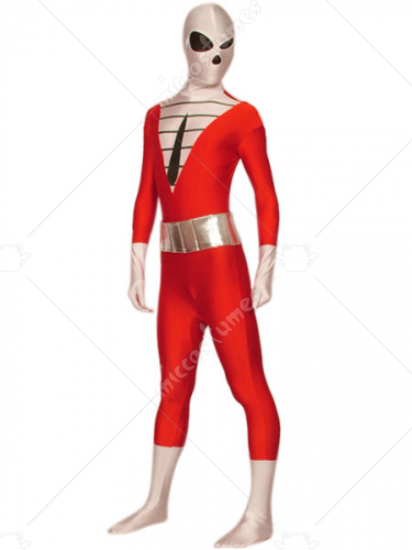 Red And White Lycra Single Eyed Spandex Super Hero Zentai Suit