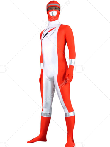 Red And White Lycra Spandex Open Eyes Zentai Suit