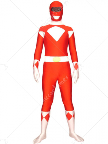 Red And White Space Warrior Baldios Lycra Spandex Super Hero Zen